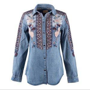 Driftwood Sandy Embroidered Denim Snap Shirt Sz XL